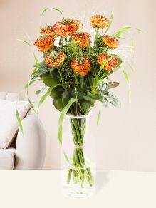 10 Orange Grassheart Rosen
