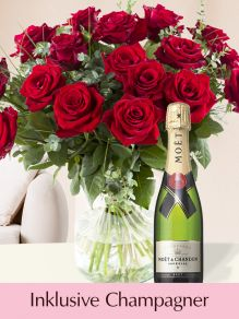 Rote Rosen EverRed mit Moët & Chandon Champagner 0,375l