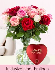 Rosa-Roter Rosenmix inklusive Lindt Herz