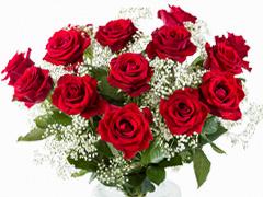Brautstrauß rote Rosen Schleierkraut